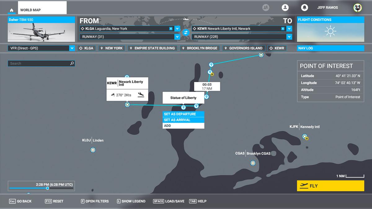 A map screen in Microsoft Flight Simulator