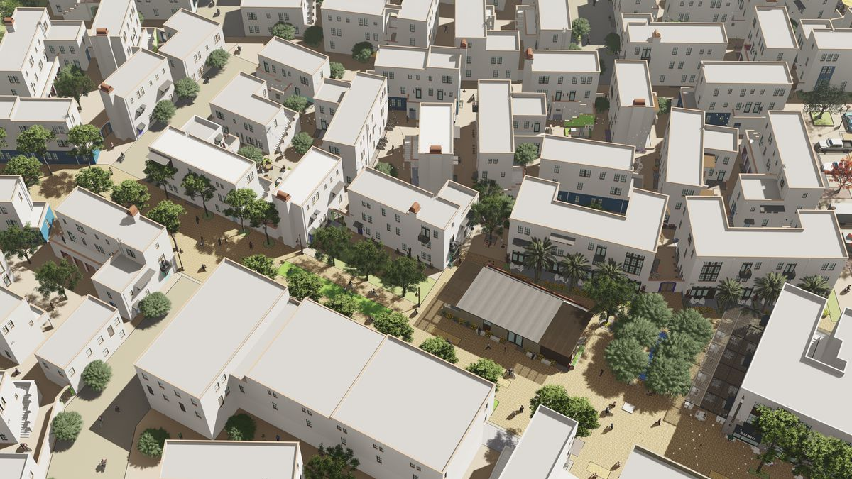 Overhead image of an under-development neighborhood in Tempe, featuring smaller homes and car-free streets.