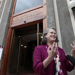 Karen King, a professor at Harvard Divinity School, is interviewed outside the Augustinianum institute where an international congress on Coptic studies is held in Rome, Wednesday, Sept. 19, 2012. Scholars are questioning the authenticity and significance of a much-publicized discovery by a Harvard scholar who reported that a 4th Century fragment of papyrus has provided the first evidence that some early Christians believed Jesus was married. Karen King announced the finding Tuesday at an international congress on Coptic studies in Rome. Her paper, and the front-page attention it received in some U.S. newspapers, was very much a topic of conversation during the coffee breaks at the conference Wednesday.
