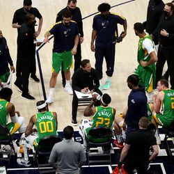 Utah head coach Quin Snyder talks to his players during a timeout as the Utah Jazz and the Denver Nuggets play an NBA basketball game at Vivint Arena in Salt Lake City on Friday, May 7, 2021.