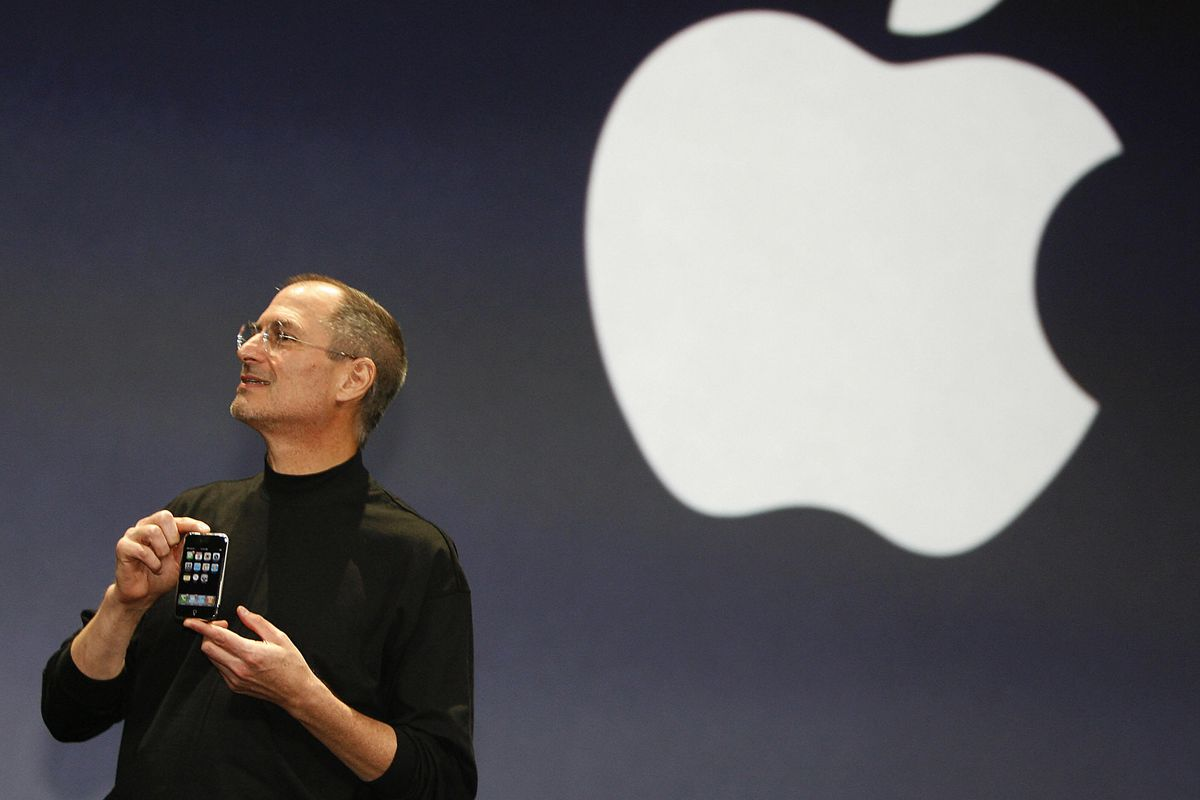 Steve Jobs with the original iPhone in 2007.