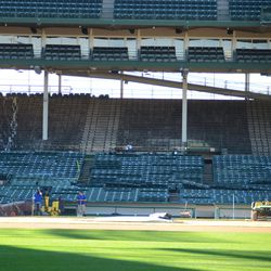 12:59 p.m. Another view inside the ballpark at Gate Q, showing the removal of grandstand seats along the third base line -