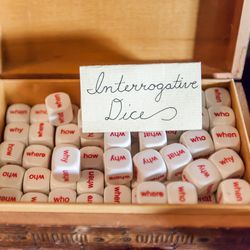 Can we all agree that interrogative dice, <b>$1 each/$1.75 per pair</b>, sounds like a good bar game?