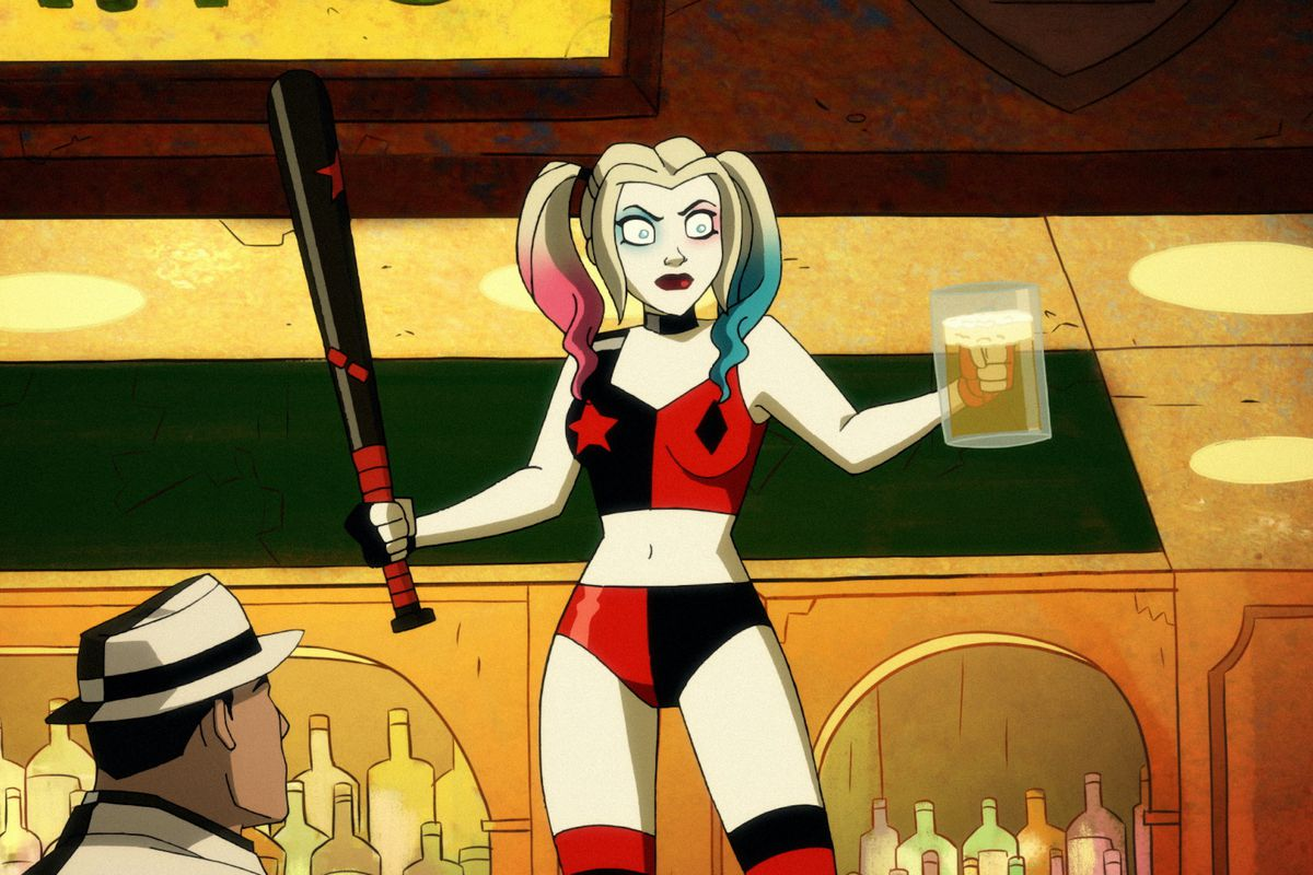 Harley Quinn stands on a bar, bat in one hand, full beer stein in another, in season 2 of Harley Quinn.