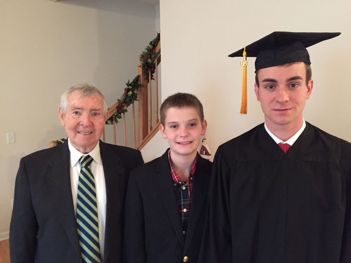 Pete O'Brien with grandsons Quinn and Ryan Minato, as they celebrated Ryan's graduation from Northern Illinois University in 2015.