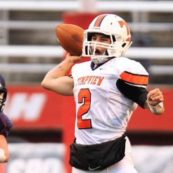 Timpview's quarterback Britain Covey makes a pass during 4A semifinal high school football game against Woods Cross in the Rice-Eccles Stadium Friday, Nov. 14, 2014, Salt Lake City.