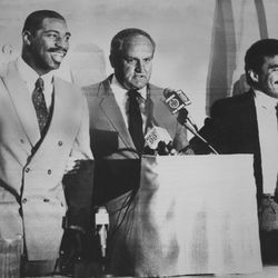 BYU head football coach LaVell Edwards talks about Ohio State's Keith Byars and BYU's Vai Sikahema Dec. 28, 1985.