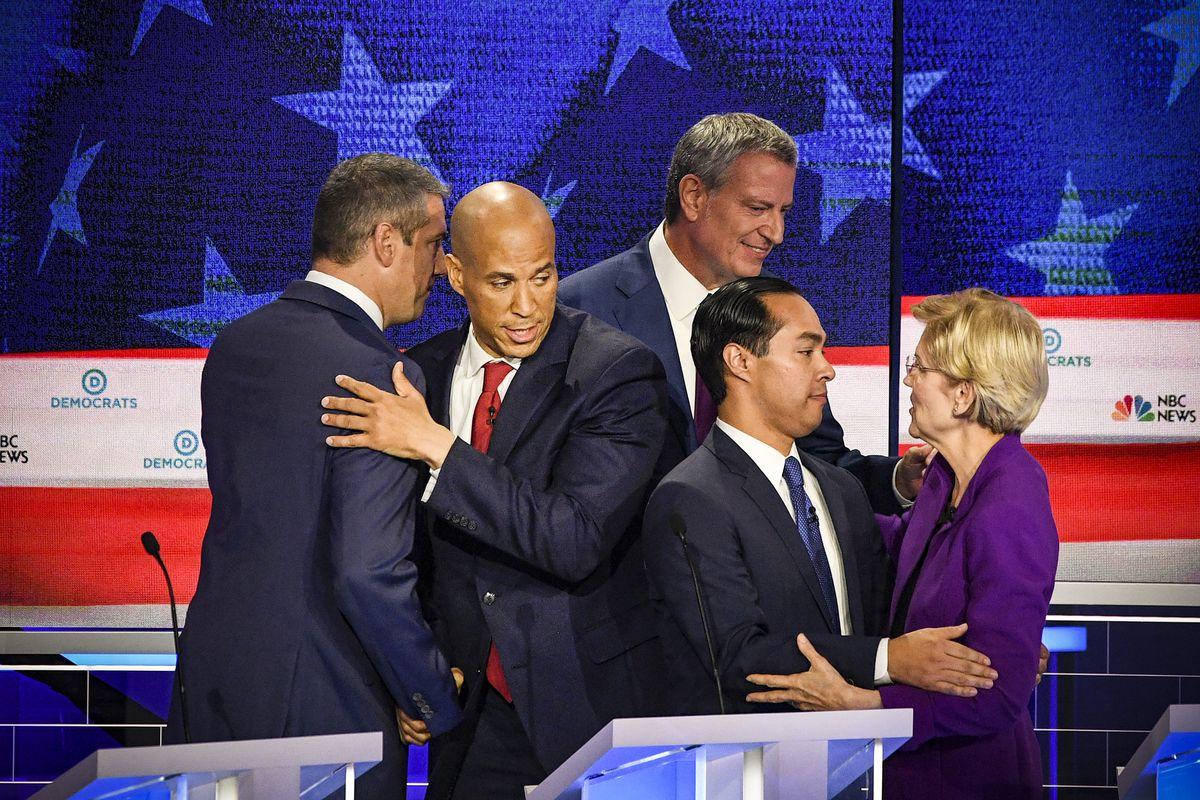 New Jersey Sen. Cory Booker amongst a field of contenders during the first night of the Democratic presidential primary debate held on on June 26, 2019.
