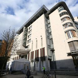 An exterior view of the Oslo Courtroom (Oslo Tinghus) where the trial of confessed killer Anders Behring Breivik begins on Monday, in Oslo, Norway, Saturday, April 14, 2012. Breivik, a 33-year-old Norwegian, faces terrorism and premeditated murder charges for the bombing in Oslo's government district and the shooting spree at the governing Labor Party's annual youth camp on Utoya. Eight people died in Oslo and 69 were killed on the island, in a lake some 40 kilometers (25 miles) northwest of the Norwegian capital.