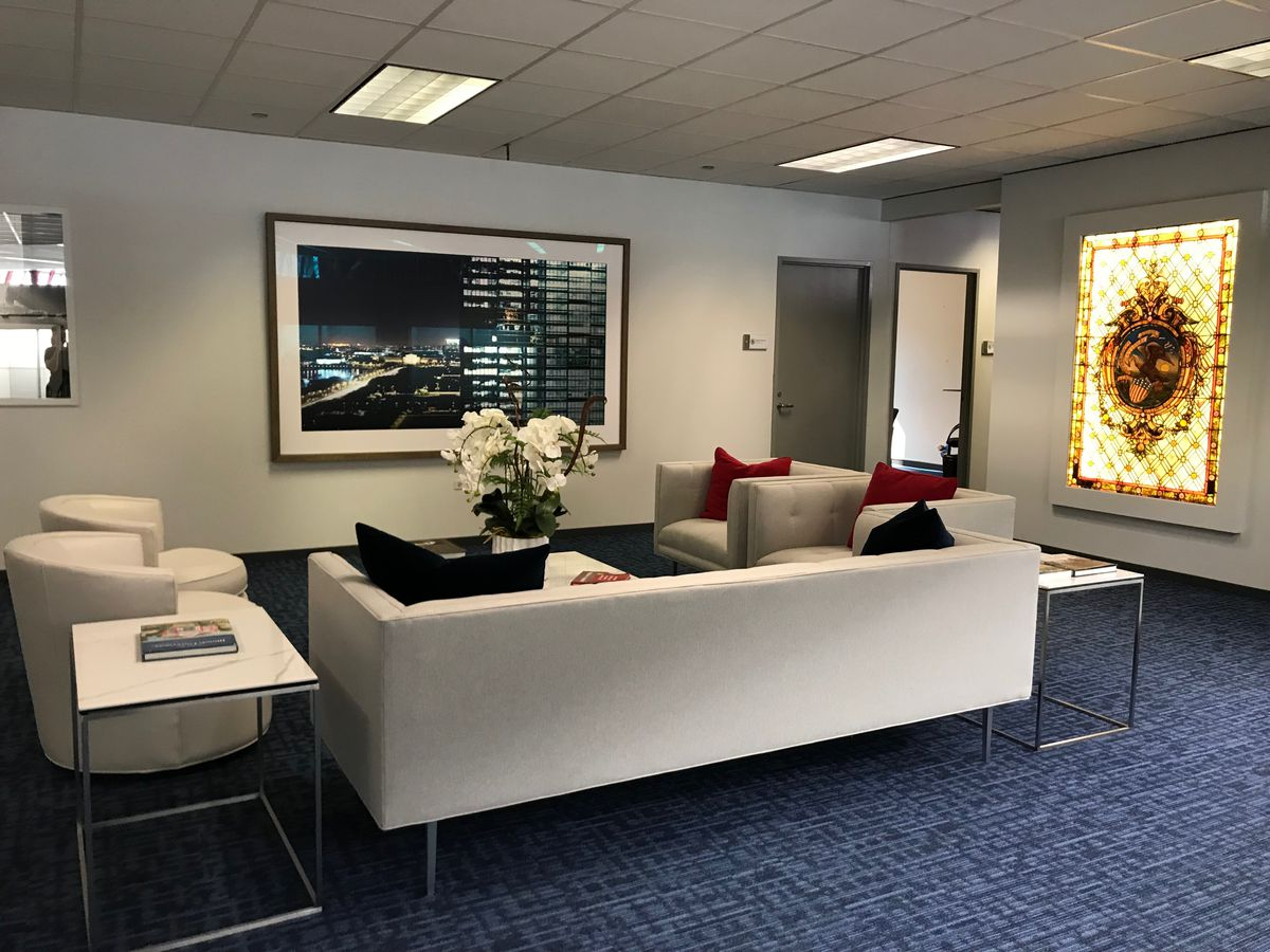 A newly renovated waiting area in offices of Gov. J.B. Pritzker and his staff.