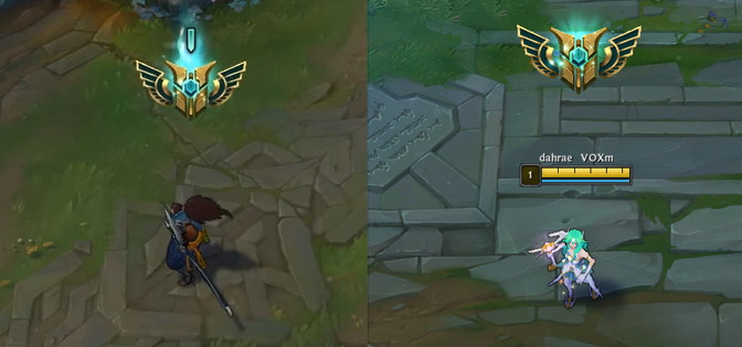 Yasuo and Soraka stand next to each other, comparing mastery emotes. Both emotes are tier 7, but Yasuo's emote has a single blue bar over the top of his.