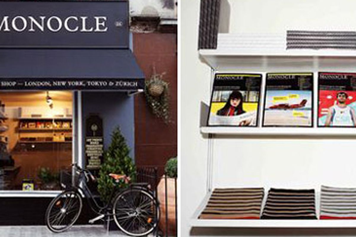 """Scenes from London's Monocle shop via <a href=""""http://www.fashionweekdaily.com/news/fullstory.sps?iNewsid=6628642"""">FWD</a>"""