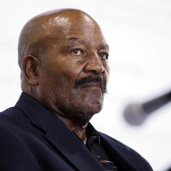FILE - In this Sept. 8, 2011, file photo, pro football hall-of-famer Jim Brown listens during a panel discussion at the Sports Law Symposium at Santa Clara University in Santa Clara, Calif. Jim Brown and the Cleveland Browns are getting back together. The Hall of Fame running back, who has had a rift with his former team for several years, plans to take part in alumni events this weekend when the Browns host the Buffalo Bills on Sunday, Sept. 23, 2012.