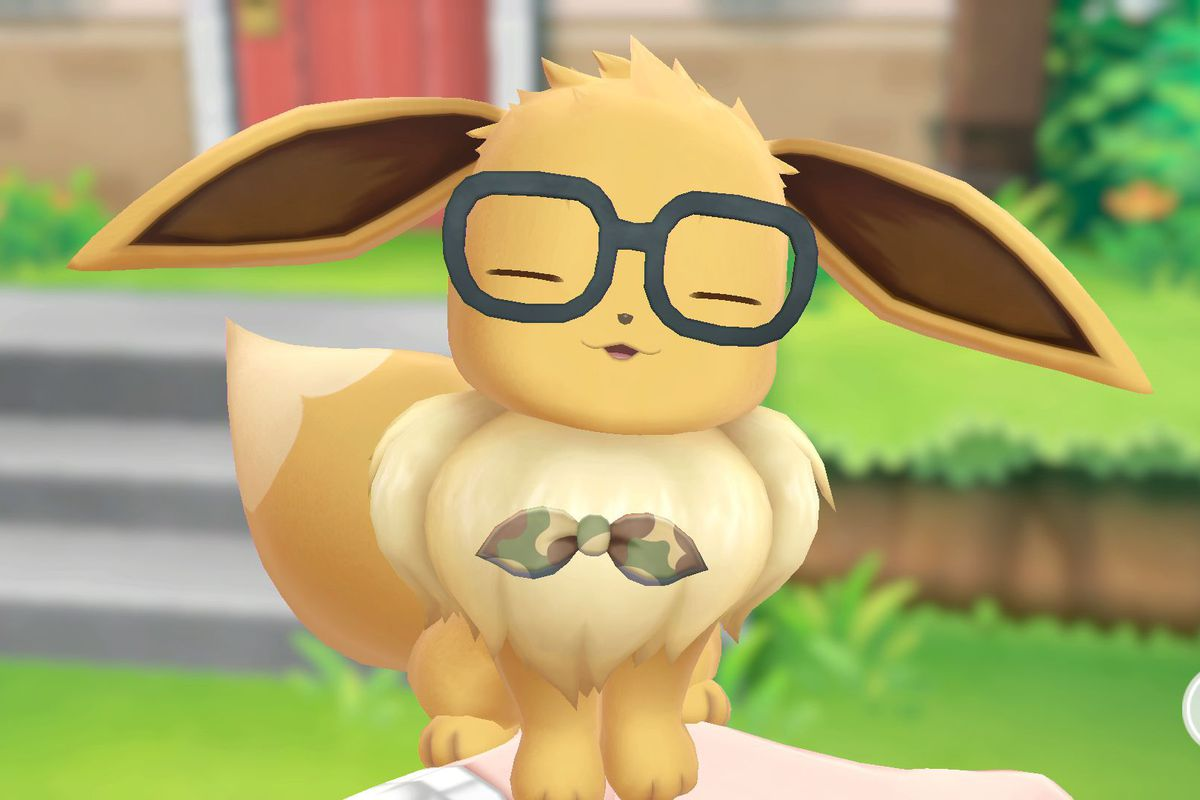 Eevee with glasses in Pokémon: Let's Go, Pikachu! and Let's Go, Eevee!