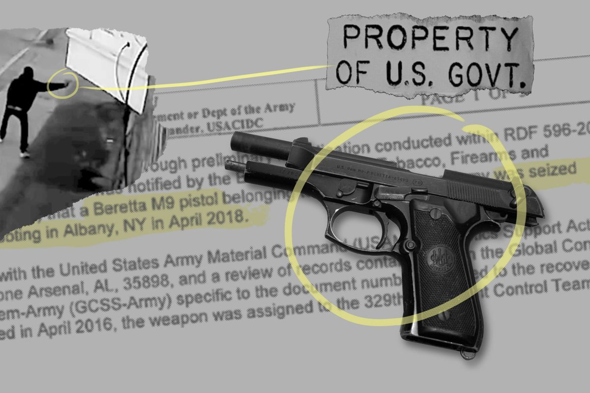 This photo illustration shows a stolen military pistol tied to four shootings in Albany, New York, an investigative document and surveillance video of one of the shootings.