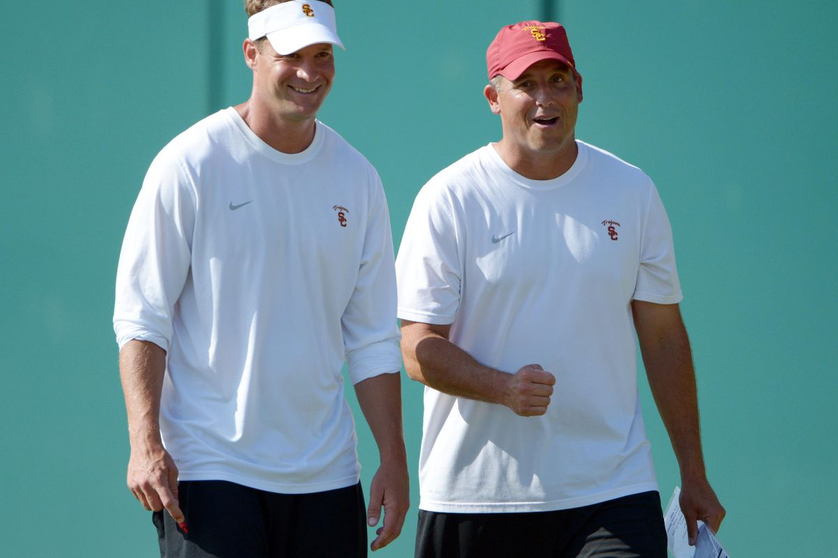 Aug 21, 2012; Los Angeles, CA, USA; Southern California Trojans coach Lane Kiffin (left) and Clay Helton at practice at Dedeaux Field. Mandatory Credit: Kirby Lee/Image of Sport-US PRESSWIRE