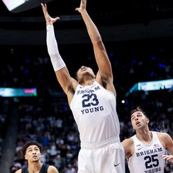 Brigham Young Cougars forward Yoeli Childs (23) pulls in a rebound during the game against the Gonzaga Bulldogs at the Marriott Center in Provo on Saturday, Feb. 22, 2020.