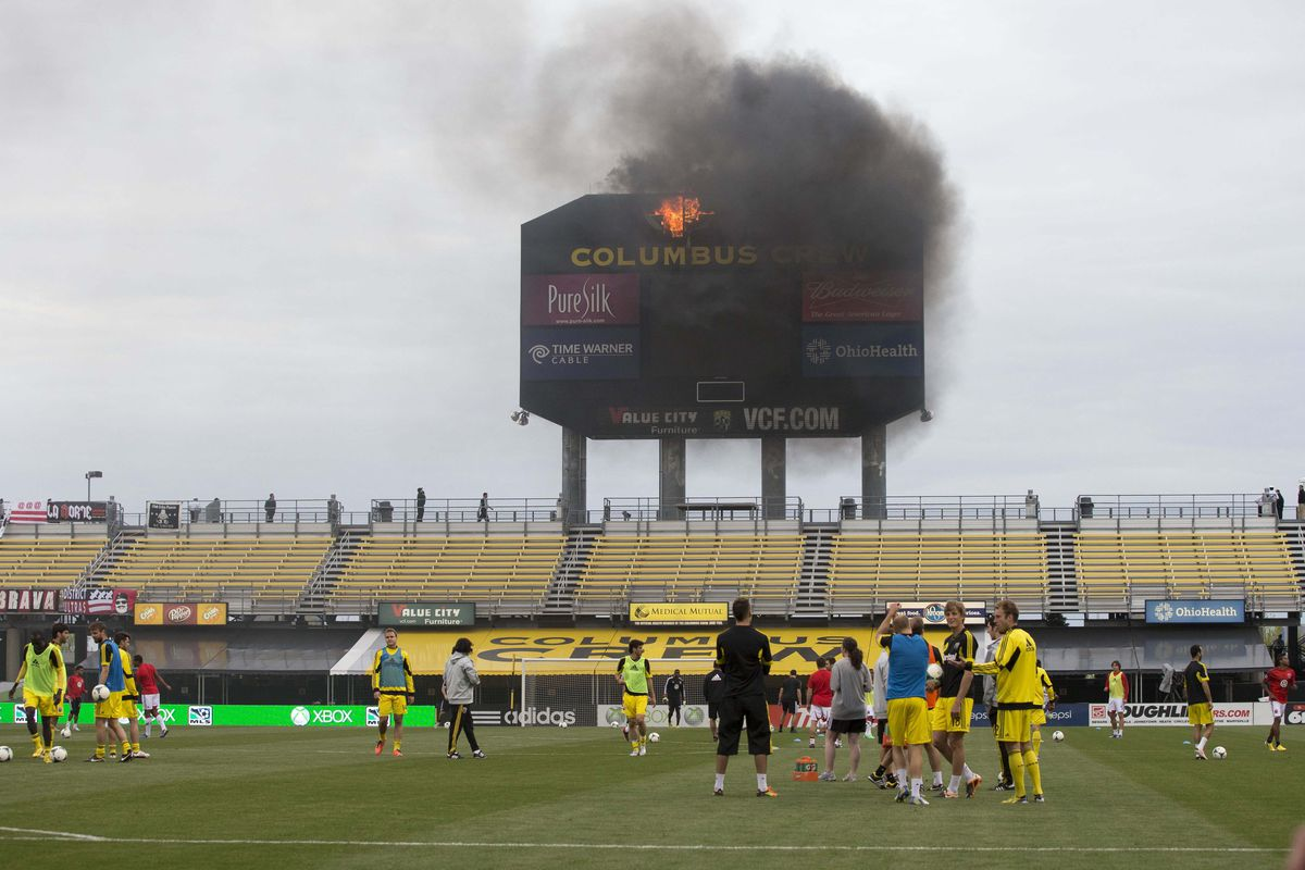 This is one thing RSL will be hoping to avoid —the scoreboard fire at Columbus Crew
