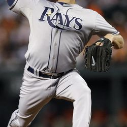 Tampa Bay Rays starting pitcher Alex Cobb throws to the Baltimore Orioles in the first inning of a baseball game in Baltimore, Wednesday, Sept. 12, 2012.
