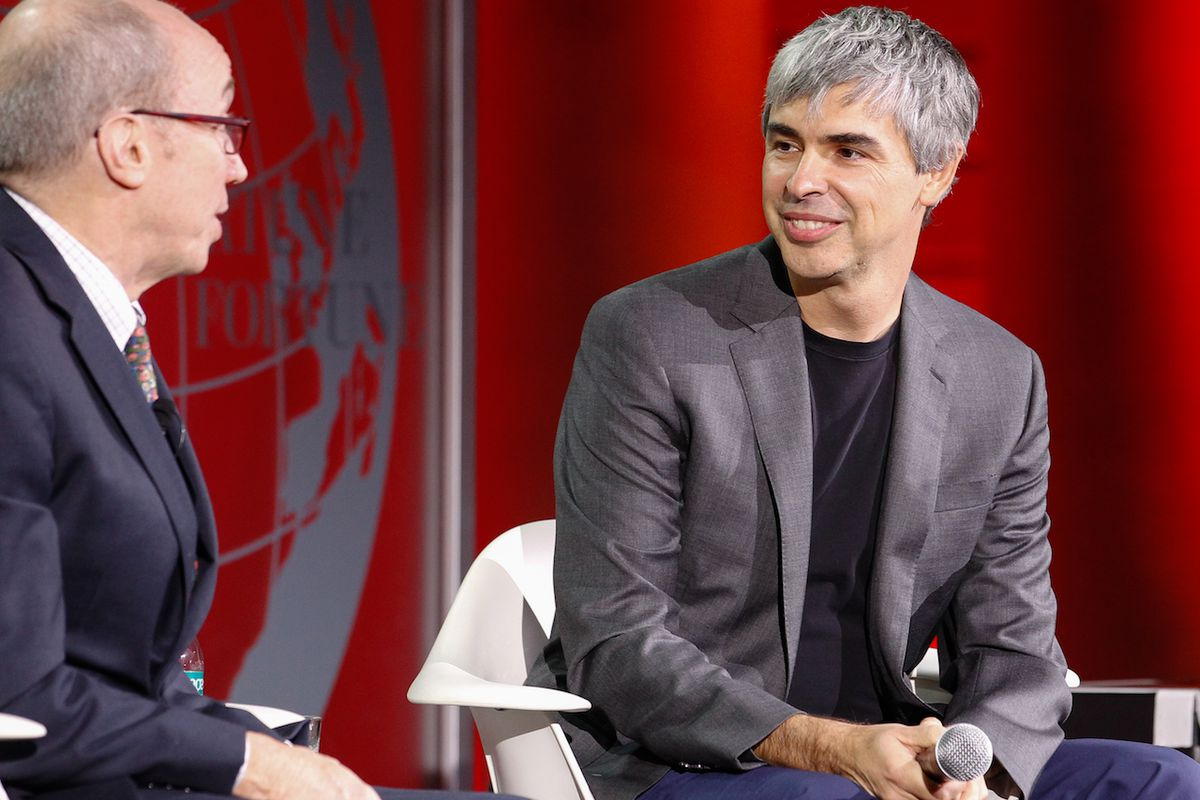 Google co-founder Larry Page (r)