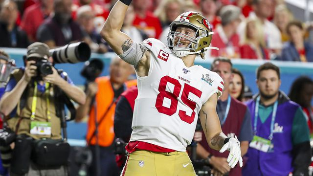 Tight end George Kittle celebrates a first-down catch during Super Bowl 54.