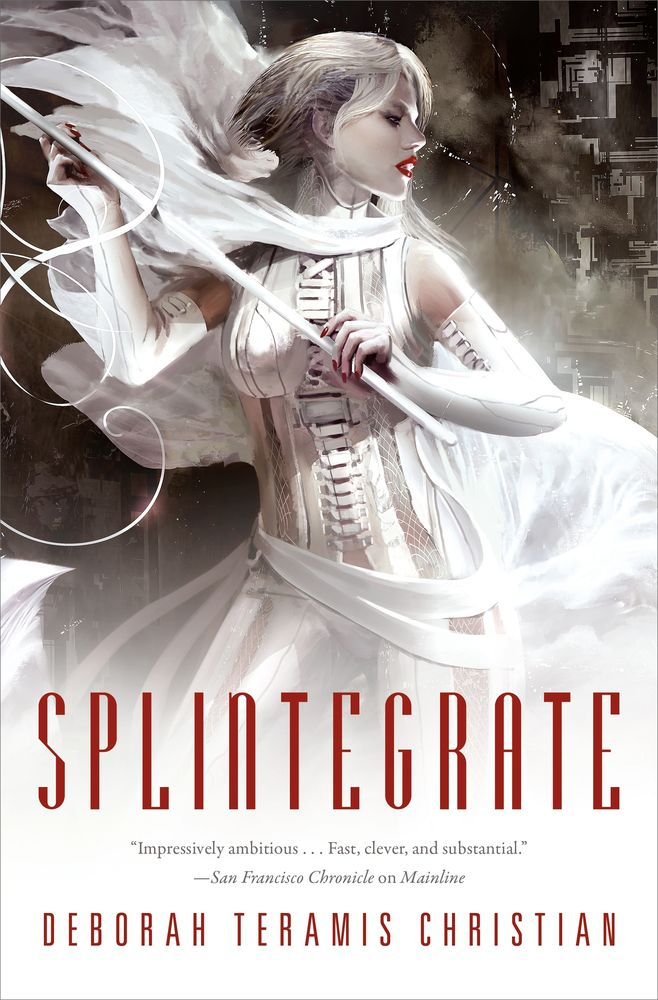 splintegrate cover: a woman in while leather and red lipstick holds a pole