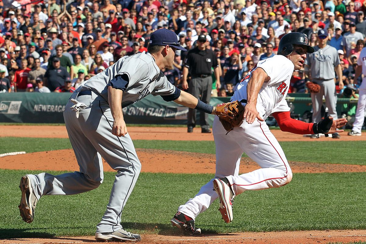 BOSTON - AUGUST 17:  Reid Brignac #15 of the Tampa Bay Rays tags out Jacoby Ellsbury #2 of the Boston Red Sox in a run-down play at Fenway Park on August 17, 2011 in Boston, Massachusetts.  (Photo by Jim Rogash/Getty Images)