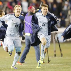 Sporting KC players celebrate their win over Real Salt Lake Saturday, Dec. 7, 2013 in MLS Cup action.