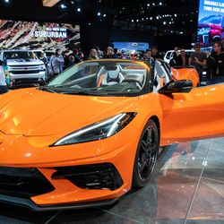 A 2020 Chevrolet Corvette is shown off at the Chicago Auto Show, Saturday at McCormick Place.