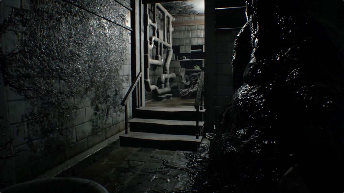 Resident Evil 7 Guide And Walkthrough 2 4 The Final Dogs Head Ps4resident Reg 3 A Molded Will Pour Through Hole In Wall Around Same Time One Drop From Ceiling To Your Right If Youre Careful You Can Trigger Them