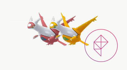 Shiny and regular Latias. Shiny Latias is gold with teal green markings