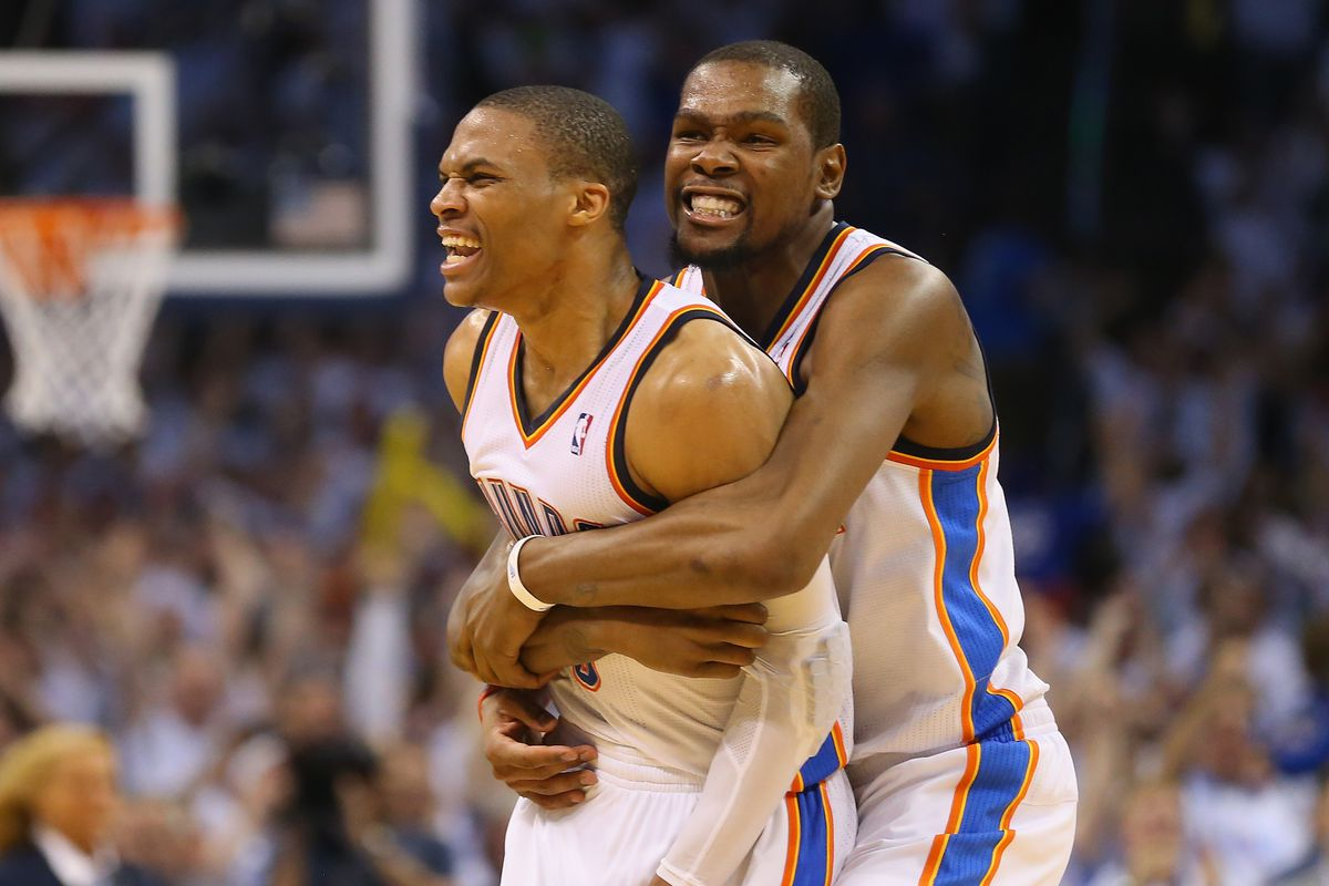 3cb9dd6e0393 Kevin Durant and Russell Westbrook always stand together - SBNation.com