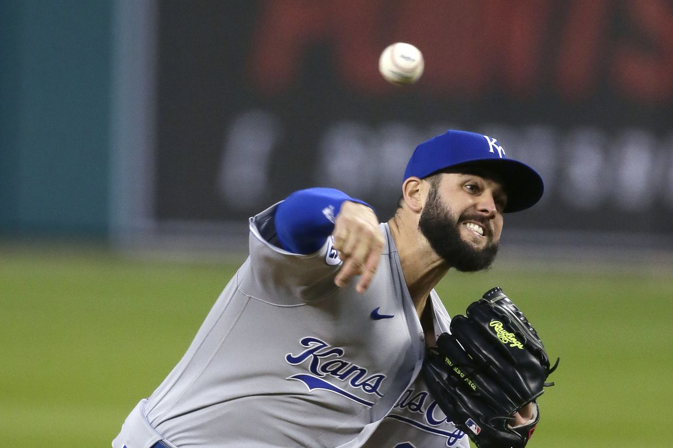 Jakob Junis #65 of the Kansas City Royals pitches against the Detroit Tigers during the second inning at Comerica Park on September 15, 2020, in Detroit, Michigan.