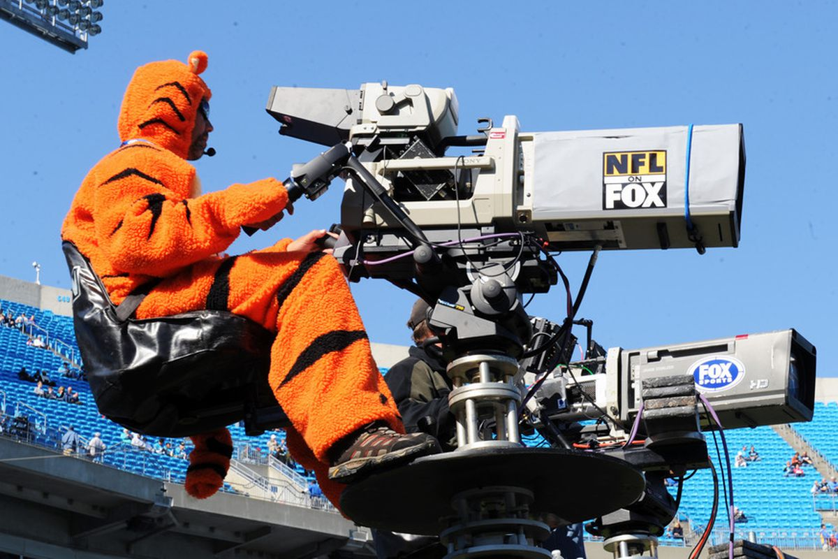 CHARLOTTE, NC - OCTOBER 30:  Cameraman Lance Stewart of FOX dresses for Halloween as the Carolina Panthers host the Minnesota Vikings October 30, 2011 at Bank of America Stadium in Charlotte, North Carolina.  (Photo by Al Messerschmidt/Getty Images)