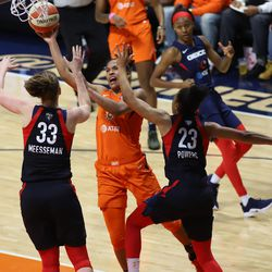 The Washington Mystics take on the Connecticut Sun in Game 4 of the WNBA Finals at Mohegan Sun Arena in Uncasville, CT on October 8, 2019.