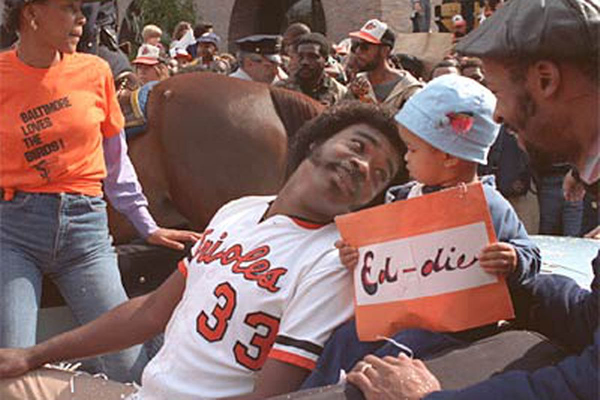 Eddie Murray is shown at the victory parade after the Orioles won the 1983 World Series. (Sun File Photo - Jonny Pops' former sig pic)