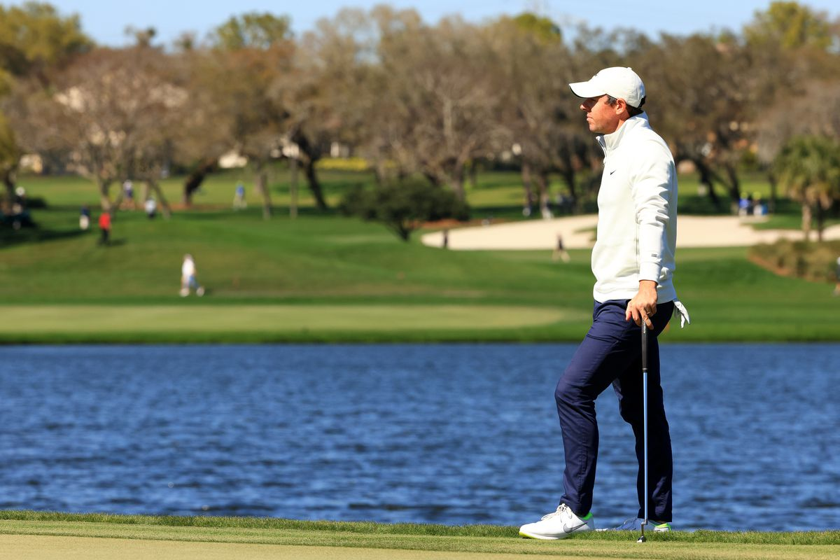 Rory McIlroy of Northern Ireland waits on the sixth green during the final round of the Arnold Palmer Invitational Presented by MasterCard at the Bay Hill Club and Lodge on March 07, 2021 in Orlando, Florida.
