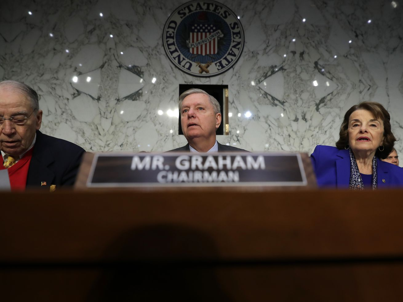 Senate Judiciary Committee Chair Lindsey Graham (R-SC) awaits the start of the confirmation hearing of attorney general nominee William Barr on January 15, 2019, in Washington, DC.