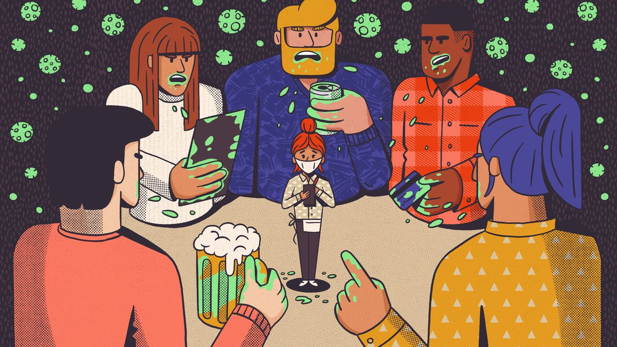 An illustration of a woman wearing a mask and holding a note pad in the center surrounded by five larger people facing her, talking without masks on, holding beers, and covered in coronaviruses