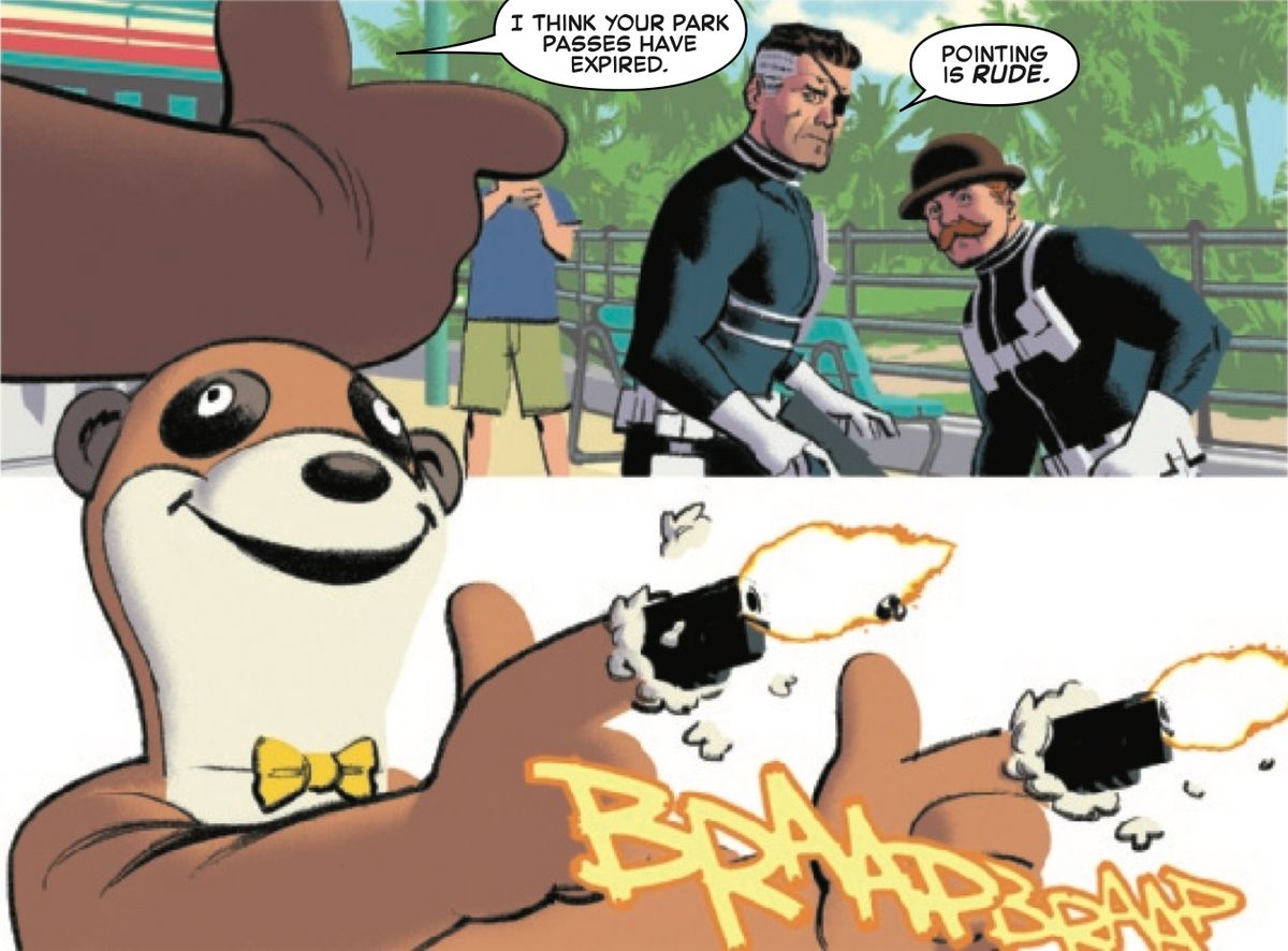 A person in a ferret mascot suit tells Nick Fury and Dum Dum Dugan that their park passes have expired, and then unloads on them with the two pistols hidden in the mascot's oversized hands, in The Amazing Spider-Man: Full Circle, Marvel Comics (2019).