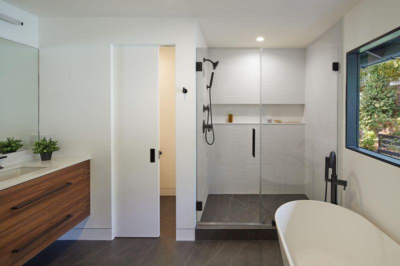 Modern bathroom with walk-in shower.