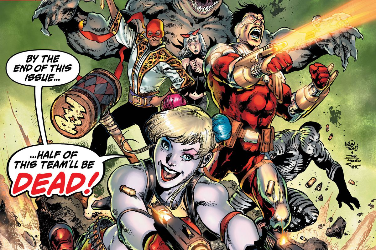 """""""By the end of this issue half of this team'll be dead!"""" Harley Quinn cheers — flanked by Deadshot, King Shark, and other villains — on the cover of Suicide Squad #1, DC Comics (2019)."""