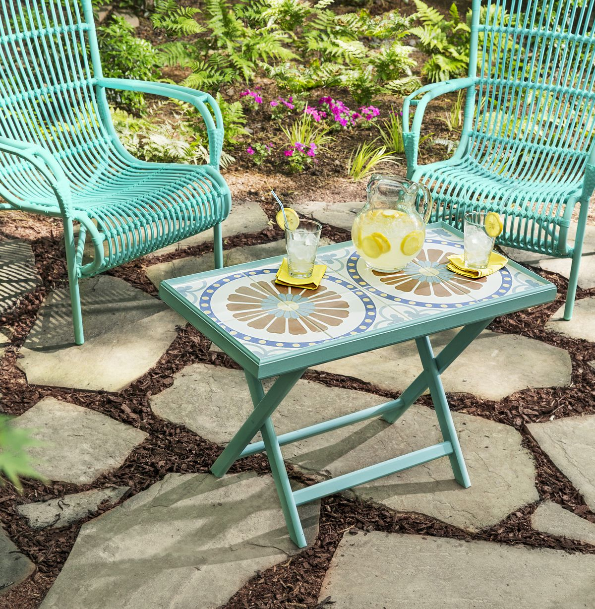Tiled tabletop with chairs.