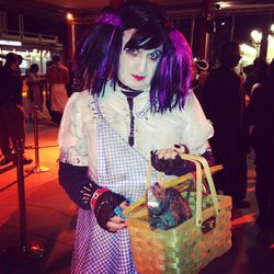 A punk zombie version of Dorothy from <i>Wizard of Oz</i>.