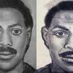 This image provided by the Las Cruces Police Department shows an artist's sketch of the older suspect in the unsolved bowling alley murders committed on Feb. 10, 1990, in Las Cruces, N.M. At left is the sketch released by police shortly after the crime. At right is an age-progressed image, released in February 2010, to reflect how the man might look today.
