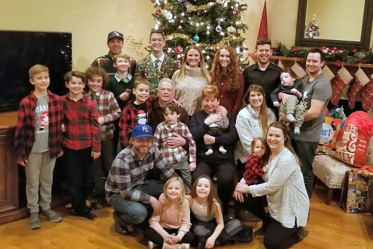 Janice and James Quigley with all of their grandchildren and great-grandchildren on Christmas Eve 2018.