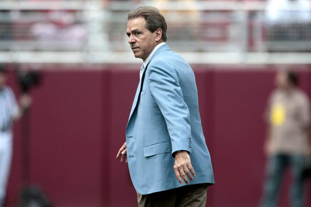 TUSCALOOSA, AL - APRIL 17: Coach Nick Saban of the Alabama Crimson Tide watches his team during the Alabama spring game at Bryant Denny Stadium on April 17, 2010 in Tuscaloosa, Alabama. (Photo by Dave Martin/Getty Images)