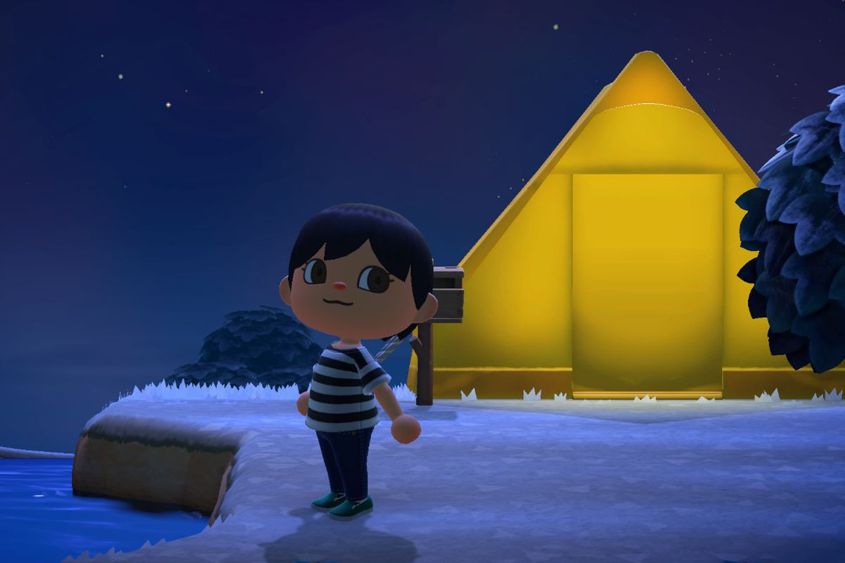 A short-haired villager stands in front of a yellow tent at night