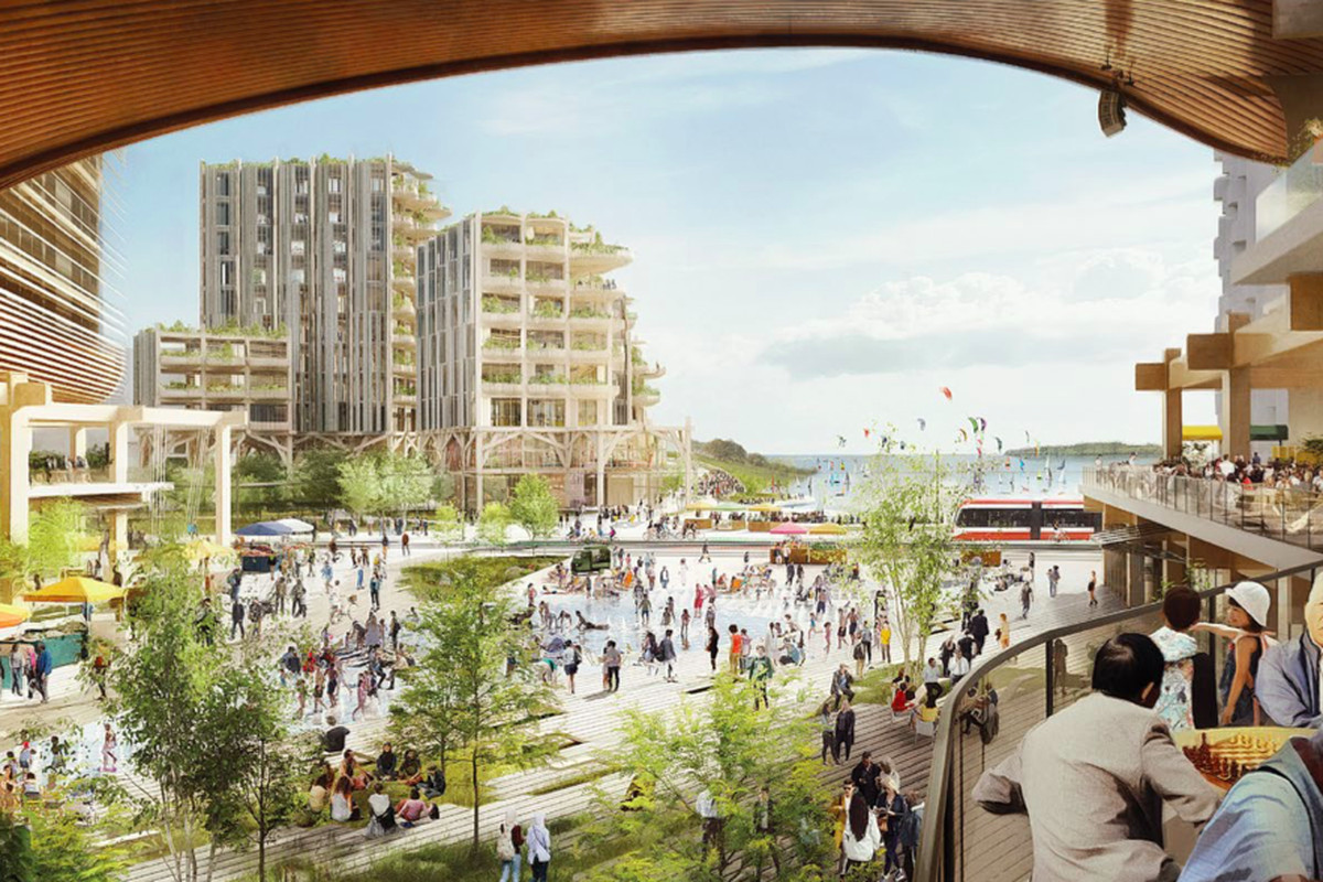 A rendering of a vibrant cityscape on a waterfront with people boating and sitting at outdoor cafes.