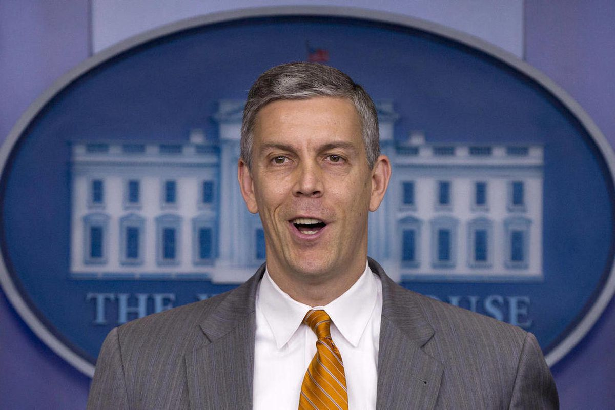 Education Secretary Arne Duncan speaks durng the daily news briefing at the White House, Friday, April 20, 2012, in Washington.